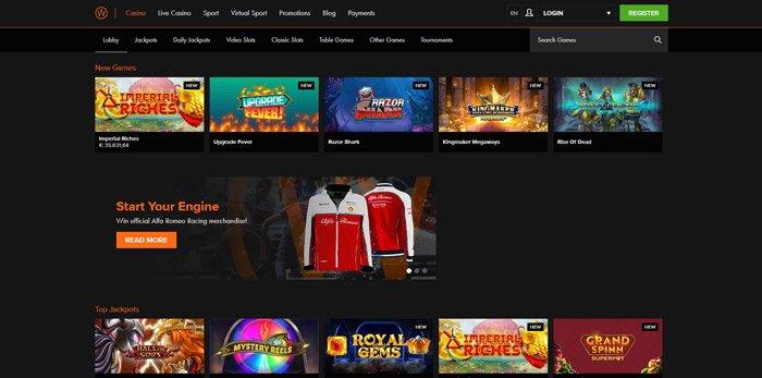 Casino Winner game selection