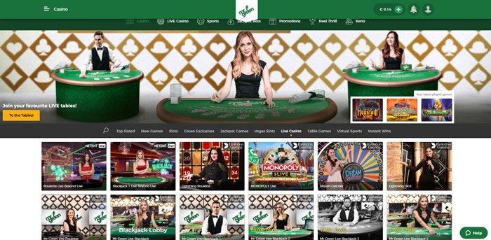 live casino games at Mr Green Casino