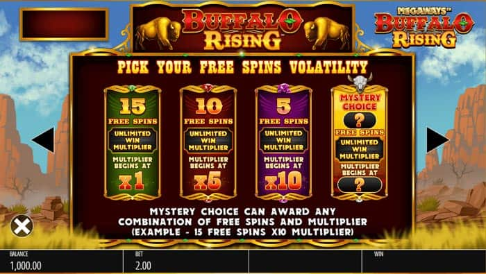 Free Spins Bonus Round and Buy a bonus feature in Buffalo Rising Megaways