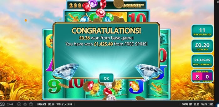 Mega Win during Raging Rhino Megaways