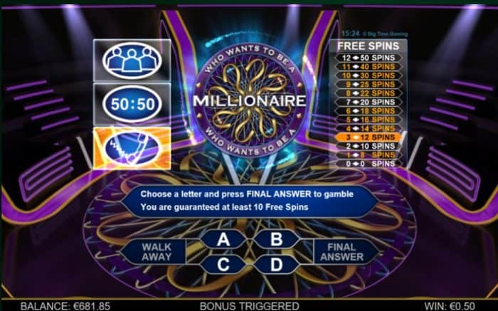 life lines in who wants to be a millionaire megaways