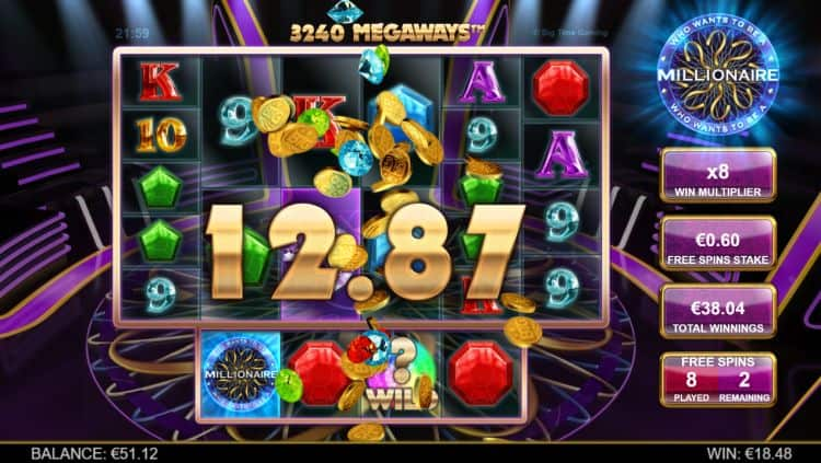 free spins bonus in who wants to be a millionaire slot