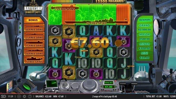 Battleship Direct Hit Megaways Free spins bonus