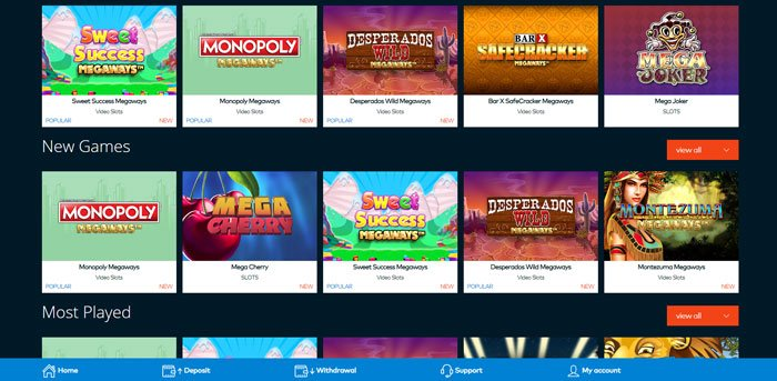 selection of megaways slots