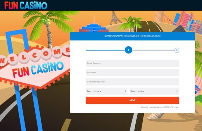 Fun Casino registration page
