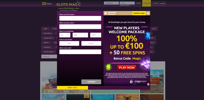 Registration and SlotsMagic login