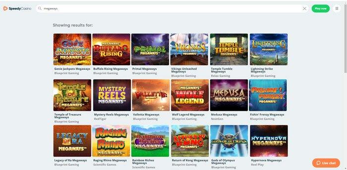 Speedy Casino Megaways Slots lobby