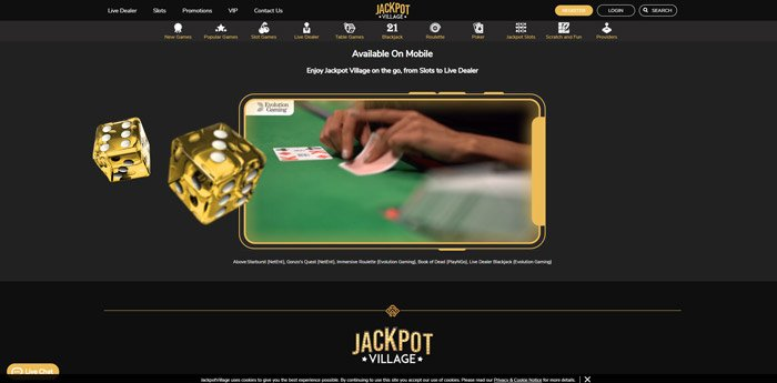 table and live casino games at Jackpot Village Casino