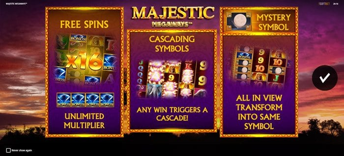 Play Majestic Megaways Slot for free in demo mode