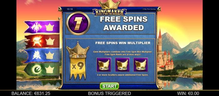 Kingmaker Megaways Free Spins