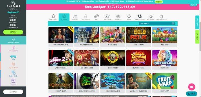Miami Dice Casino Games Selection