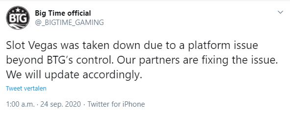 big time gaming on twitter regarding the take down of Slot Vegas Megaquads