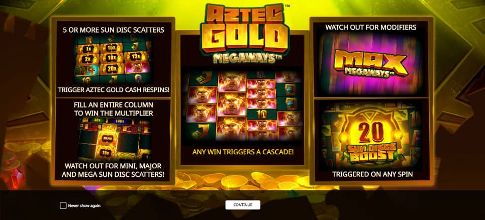 Play Aztec Gold Extra Gold Megaways for free in demo mode