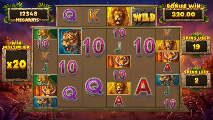 Big Cat King Megaways Free Spins Bonus Round