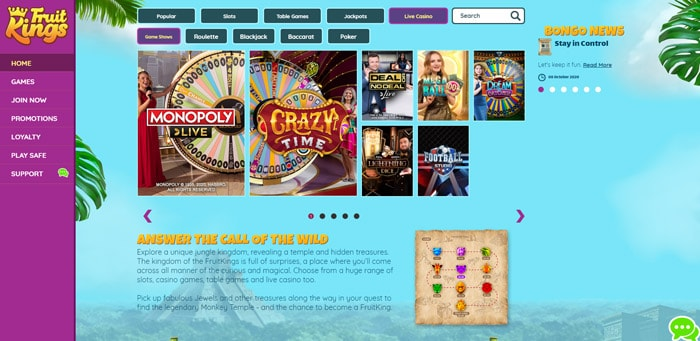 FruitKings Table Games and Live Casino