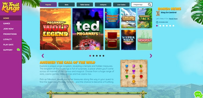 Play Megaways Slots at FruitKings Casino