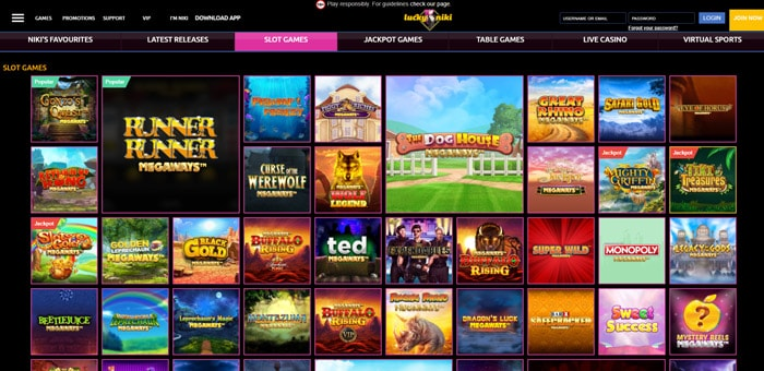 LuckyNiki Megaways Slots Lobby