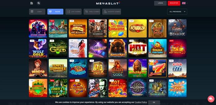 MegaSlot casino games lobby