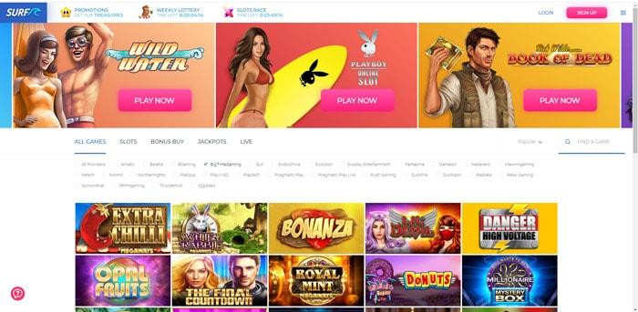 Surf Casino Homepage