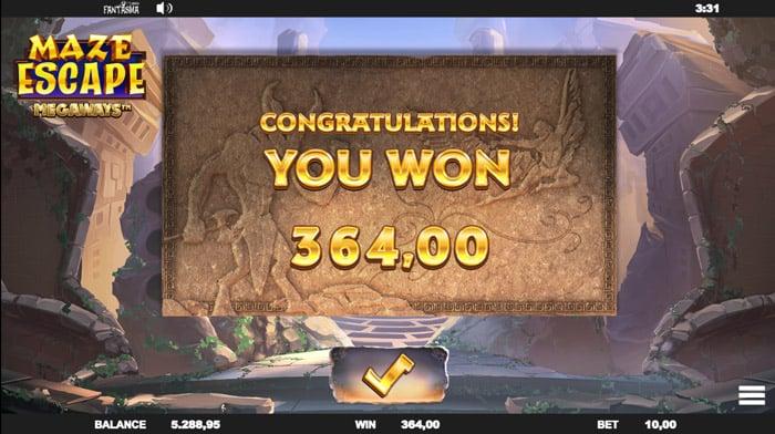 Big won on Maze Escape Megaways Bonus Round