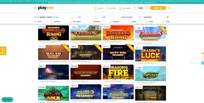 PlayZee Casino Megaways Slots