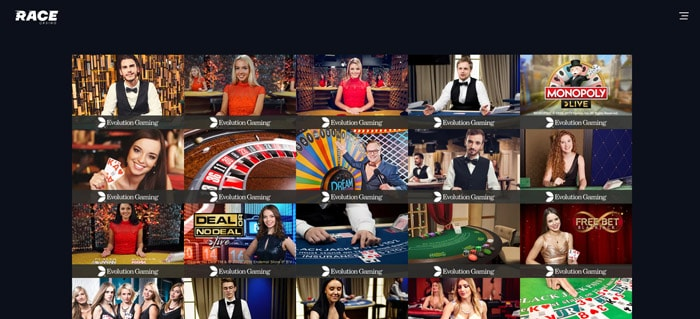 race casino Table Games and Live Casino