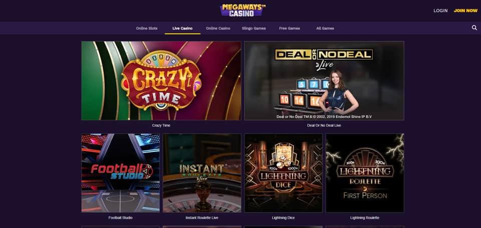Live casino lobby at Megaways Casino