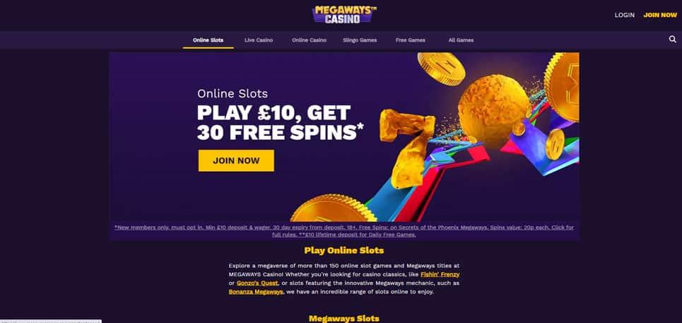 Megaways Casino Homepage