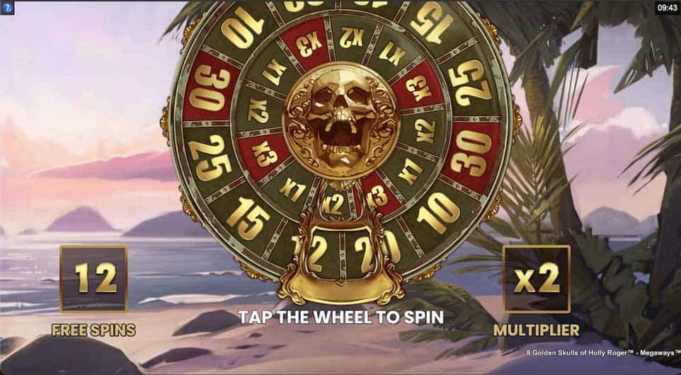 8 Golden Skulls of Holly Roger Megaways Free Spins Wheel